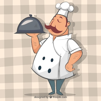 Chef with tray in hand-drawn style
