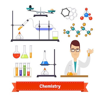 Chemistry equipment and chemist colourful set