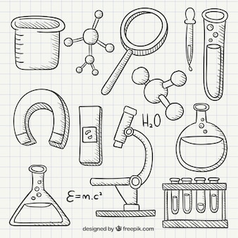 Chemistry hand drawn icons