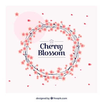 Cherry blossom background with decorative floral wreath