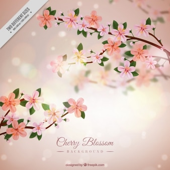 Cherry blossom bright background in realistic style