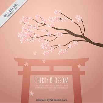 Cherry tree background with a temple
