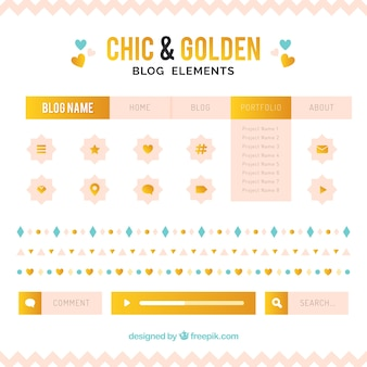 Chic collection of blog items with golden details