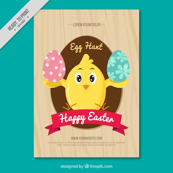 Chicken greeting card with easter eggs