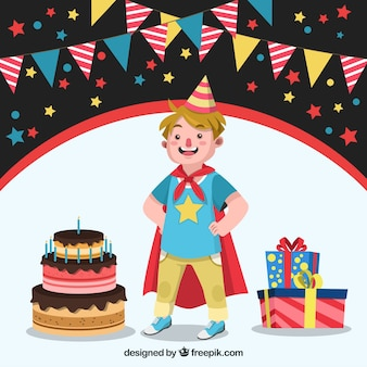 Child background with superhero cape and birthday cake