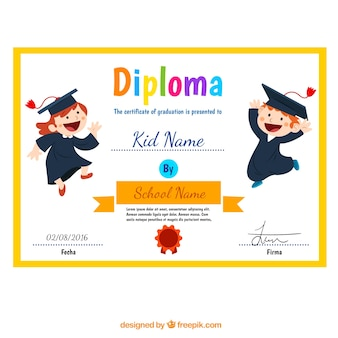 Child diploma with funny children