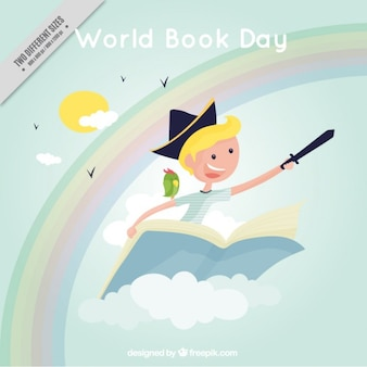 Child flying on a book background