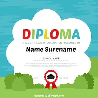 Childish diploma template