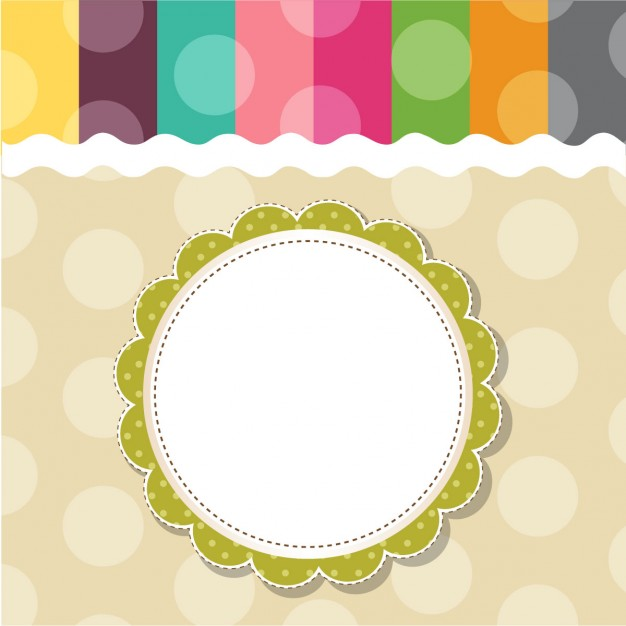 Childish template frame design for greeting card