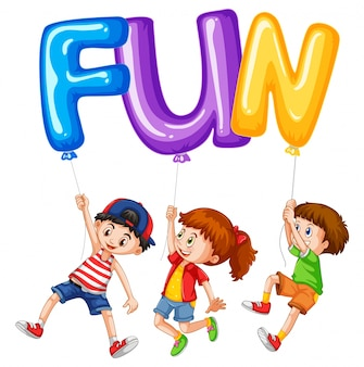 Children and balloons for word fun