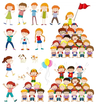 Children and human pyramid illustration
