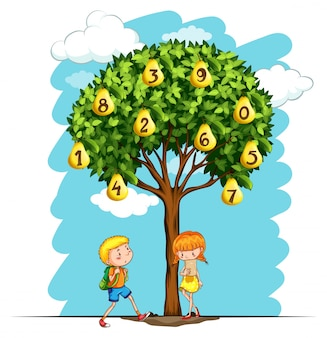 Children and pear tree with numbers illustration