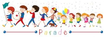 パレードイラストの子供たちとバンド