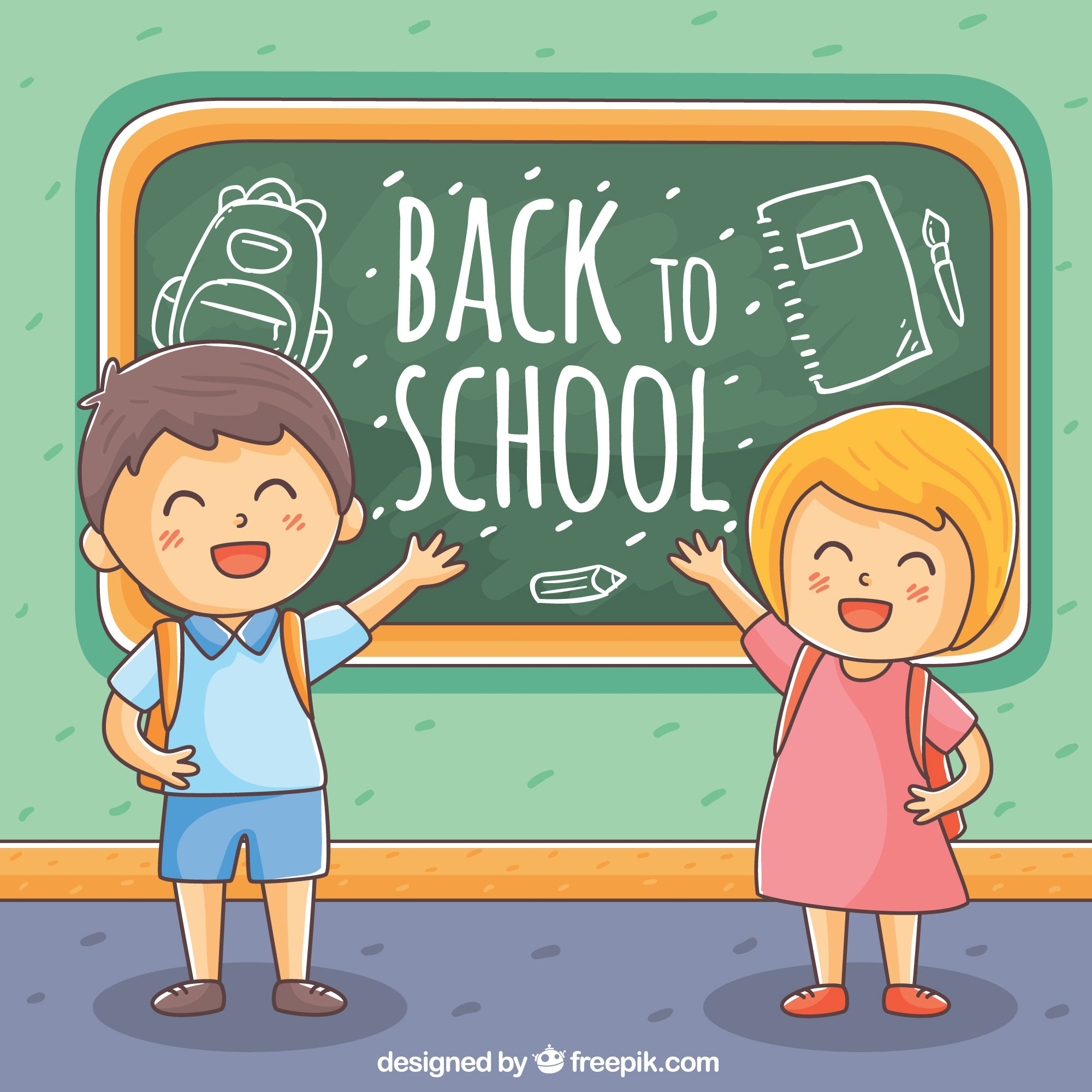 Children background with hand drawn blackboard