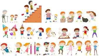 異なる活動を行っている子供たちイラスト