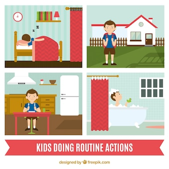 Children doing routine actions