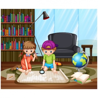 Children exploring a map