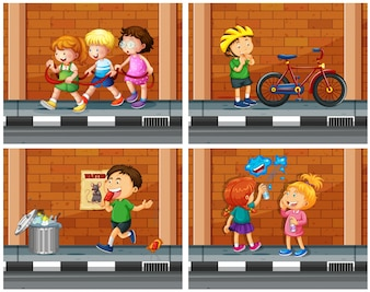 Children haning out on the sidewalk illustration