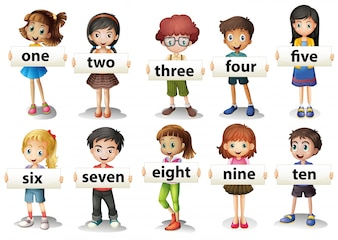 Children holding word cards with numbers illustration