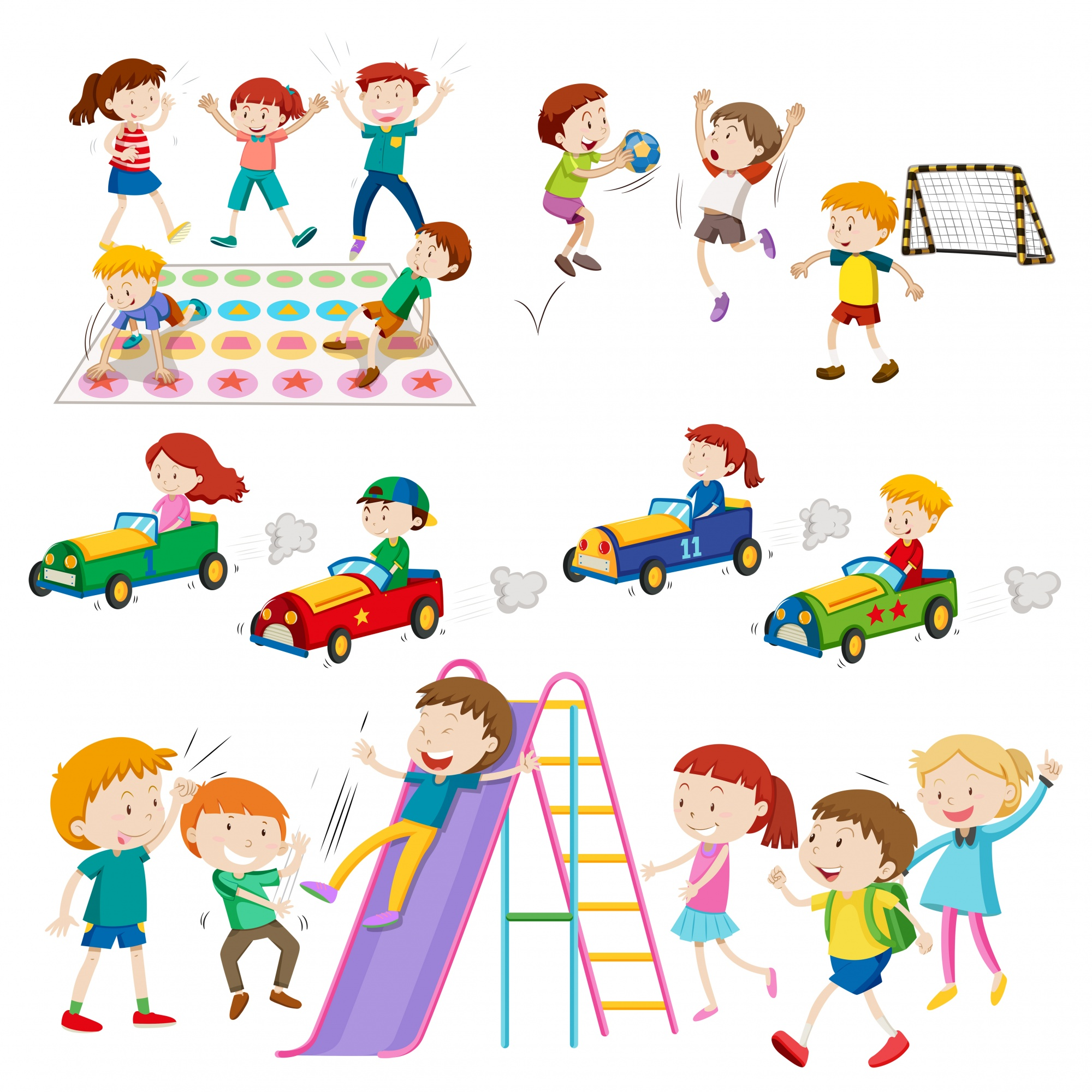 Children playing games and sports illustration