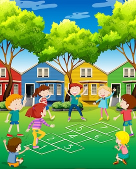 Children playing hopscotch in the yard illustration