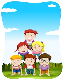 Children playing human pyramid in the park illustration