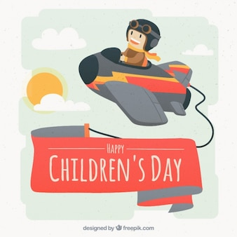 Children's day background with little aviator