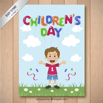 Children's day card with a boy