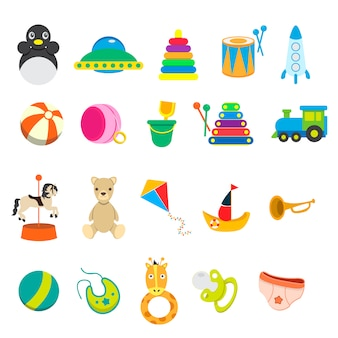 Children toy icon collection