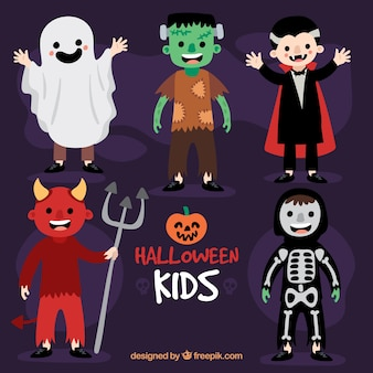Children wearing costumes of typical halloween characters
