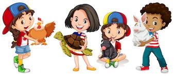 Children with domestic animals illustration