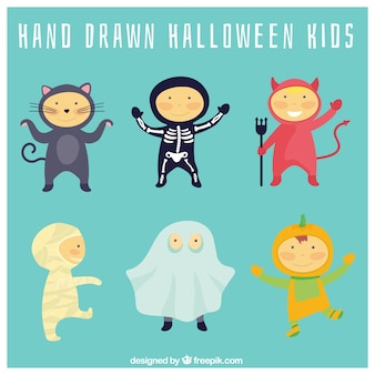 Children with lovely halloween costumes