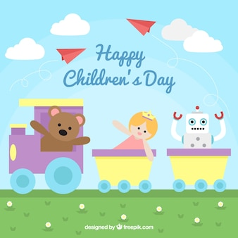 Childrens day concept with teddy in train