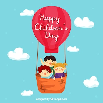Childrens day design with kids in balloon