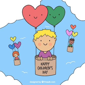 Childrens day design with kids in balloons