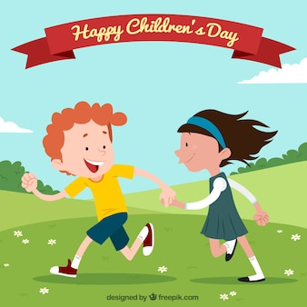 Childrens day design with running kids