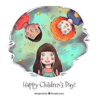 Childrens day design with three kids