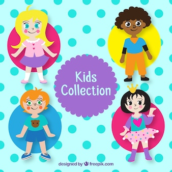 Childrens day vector with four kids