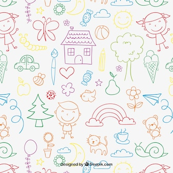 Children's pattern in colorful style