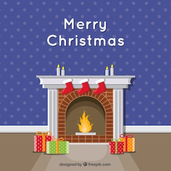Chimney and gifts merry christmas background