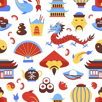 China travel chinese traditional culture symbols seamless pattern vector illustration