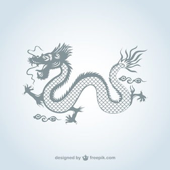 Chinese dragon in gray color