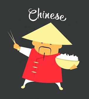 Chinese Man Flat Illustration