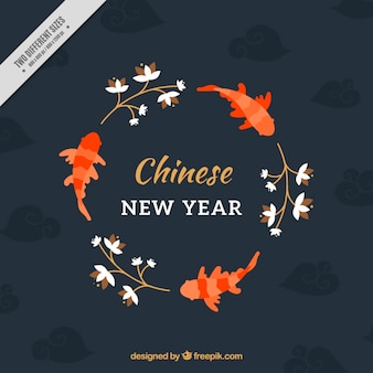 Chinese new year background with fish and plants