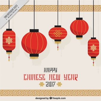 Chinese new year background with hanging lanterns