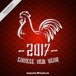Chinese new year background with ink rooster
