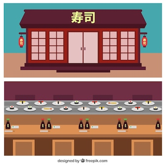 Chinese restaurant facade in flat design