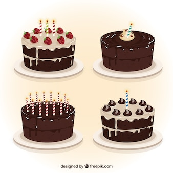 Chocolate birthday cakes collection