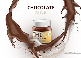 チョコレートボトルパッケージモックアップスプラッシュの背景に現実的なベクトル