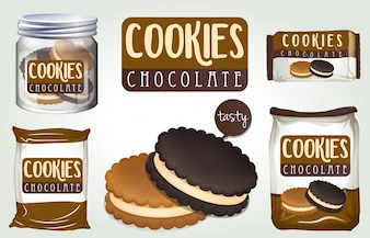 Chocolate cookies in different packages illustration